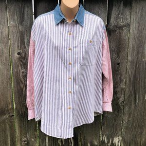 Solutions Vintage Shirt Striped Chambray Ticking
